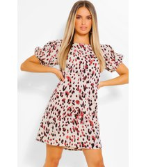 loshangende luipaardprint jurk met pofmouwen, crème