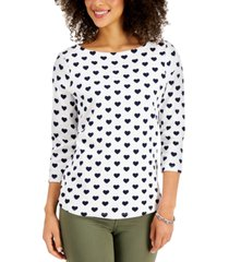 charter club cotton heart-print top, created for macy's