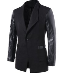 one button pu leather panel coat