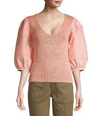 poplin sleeve sweater