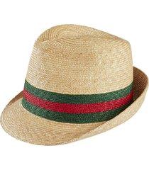 gucci woven straw fedora hat - white