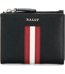 bally grained leather stripe wallet - black