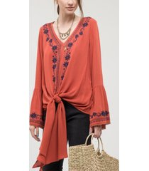blu pepper embroidered bell sleeve top with front-tie