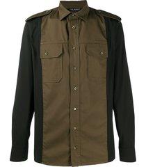 neil barrett military-style slim-fit shirt - green