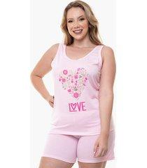 pijama short doll regata plus size love feminino luna cuore