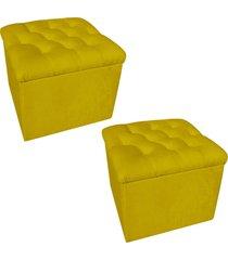 kit 02 puffs baú capitonê quadrado suede amarelo - d'rossi