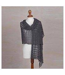 100% baby alpaca shawl, 'dreamy texture in slate' (peru)