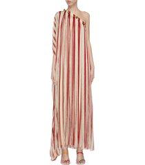 caftan' one shoulder fringe silk chiffon dress