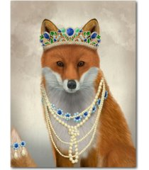 "courtside market fox with tiara portrait gallery-wrapped canvas wall art - 18"" x 24"""