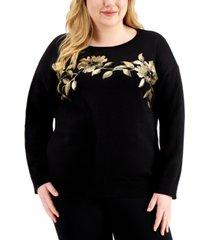 calvin klein plus size metallic floral cotton sweater