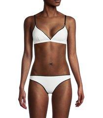 stella mccartney women's v-neck bikini top - powder - size l