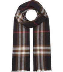 burberry lightweight check wool silk scarf - black