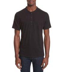 men's rag & bone classic short sleeve henley, size x-small - black