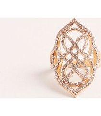 anillo cerrado con cristales. dorado uni