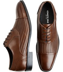 kenneth cole ticket tan woven cap toe oxfords