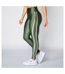 calça legging poliamida verde militar com recortes feminina água e luz
