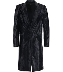black embossed astrakhan long coat