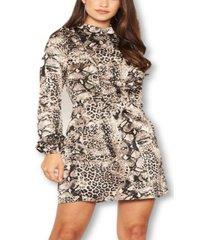 ax paris women's animal print frill detail dress