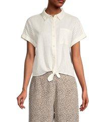 sanctuary women's summer cotton shirt - white - size xl