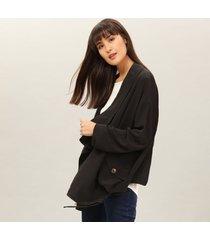 jaqueta ampla em tecido preto reativo - lez a lez