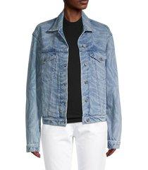 rta women's erika animal-print denim jacket - blue zebra - size xs