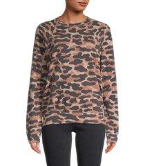 monrow women's camo-print sweatshirt - evergreen - size m