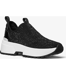 mk sneaker slip-on cosmo in nylon elasticizzato con decorazioni - nero (nero) - michael kors