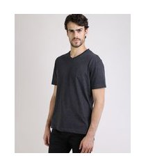 camiseta masculina básica manga curta gola em v cinza escuro