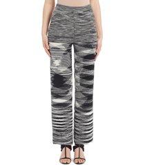 women's missoni space dye wool blend straight leg sweater pants, size 12 us - black