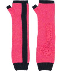 barrie bright side cashmere fingerless gloves - pink