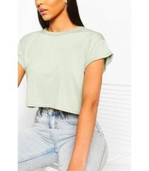 basic roll sleeve crop t-shirt, sage