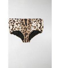 dolce & gabbana leopard print high-waisted bikini bottoms