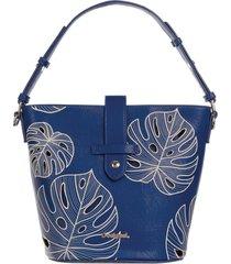 bolsa hobo desigual bordada azul