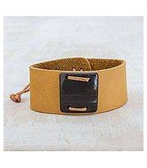 leather wristband bracelet, 'energetic' (costa rica)