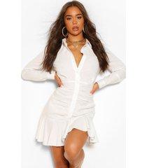 blouse jurk met lange mouwen en geplooide zoom, wit