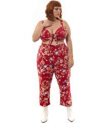 calça pantacourt floral plus size vermelha vermelho
