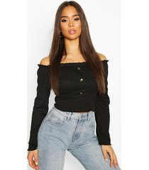 bardot top with fluted edge & bell sleeves, black