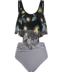 lace panel flounces sunflower stripes tankini swimwear