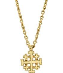 14k gold-dipped jerusalem cross pendant necklace