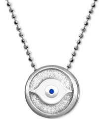"alex woo textured & enamel evil eye 16"" pendant necklace in sterling silver"