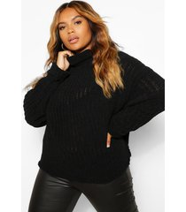 plus knitted high neck sweater, black