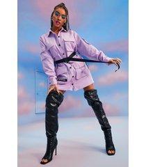 official corduroy utility blouse jurk met ceintuur, lilac