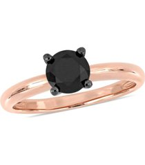 black diamond (1 ct. t.w.) solitaire ring in 14k white gold and rose gold