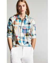 sun + stone men's gabriel regular-fit patchwork diamond plaid shirt, created for macy's