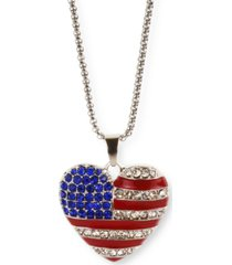 """holiday lane silver-tone pave red, white & blue heart 36"""" pendant necklace, created for macy's"""