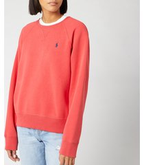 polo ralph lauren women's raglan sweatshirt - spring red - l - red