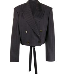 acne studios cropped fitted blazer - blue
