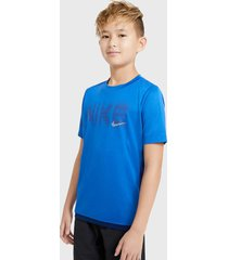 polera nike niño b nk trophy gfx ss top azul - calce regular