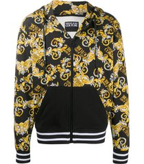 versace jeans couture baroque-print zipped hoodie - black