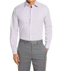 men's big & tall david donahue trim fit plaid dress shirt, size 18 - 36/37 - blue